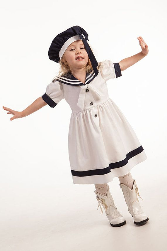 Girl sailor dress and hat, baby sailor outfit, girl first birthday dress, wedding party flower girl, kids eco friendly, summer girls dresses