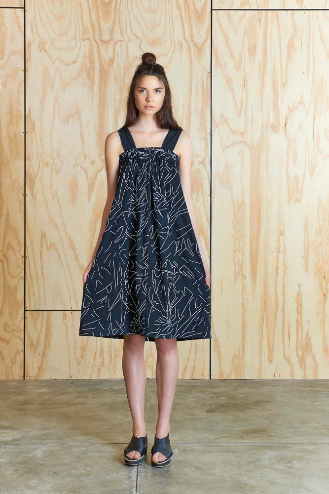 Scrunch Dress in Black with white embroidery | Bhalo