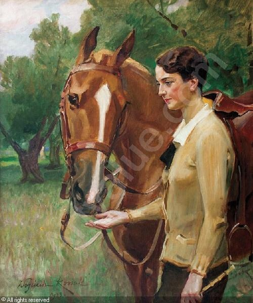 Wojciech Kossak - Portrait lady with horse