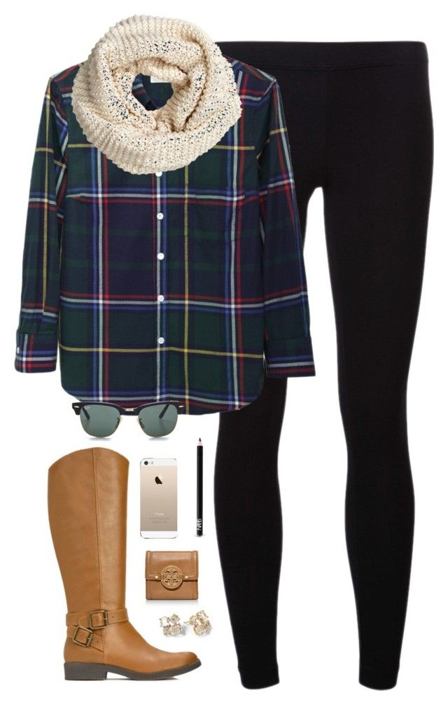"""plaid"" by classically-preppy ❤ liked on Polyvore featuring James Perse, Band of Outsiders, H&M, Ray-Ban, NARS Cosmetics, Tory Burch and Kate Spade"