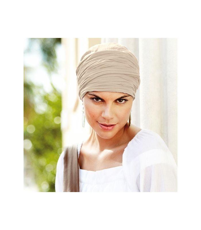 63 € - Turban chimio long couleur Sable en coton est un turban très confortable pour les femmes en chimio. Accessoire chute de cheveux, alopécie, pelade.