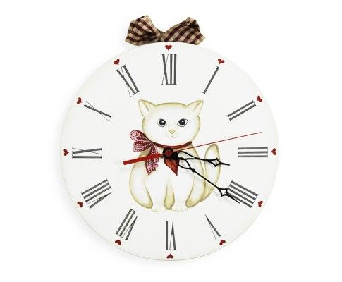 Orologio Gatto, Sweet Kitten Clock Dipinto a mano, Hand-painted A partire da, From: euro 35 MADE IN ITALY