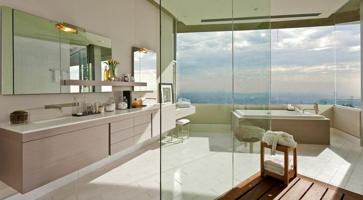 There are seven bathrooms that also take great advantage of the outside view.  (McClean Design)