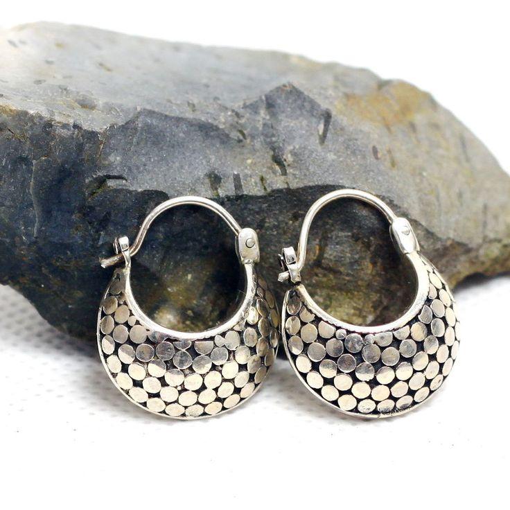 925 Sterling Silver Dot Motive 20mm Hoop Earring Bali Handmade