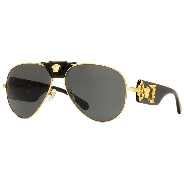 Versace Gold Aviator Sunglasses - ve2150q (375 CAD) ❤ liked on Polyvore featuring men's fashion, men's accessories, men's eyewear, men's sunglasses, gold, mens gold aviator sunglasses, versace mens sunglasses, mens sunglasses, mens eyewear and mens gold sunglasses