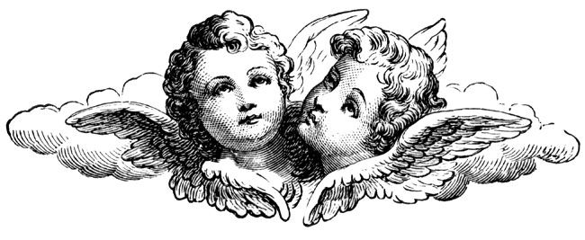 Cherub Decorations ~ free download for use.  This would be a cute 'wedding logo'... It could go on your invitations or on stickers to seal your invitations, and clear labels for candles, match book covers, paper bands for utensils wrapped in paper napkins