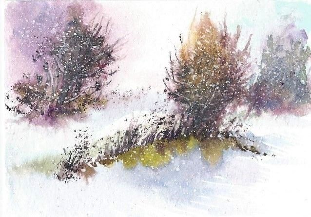 Aceo Original Winter Painting Snow Woodland Trees Landscape