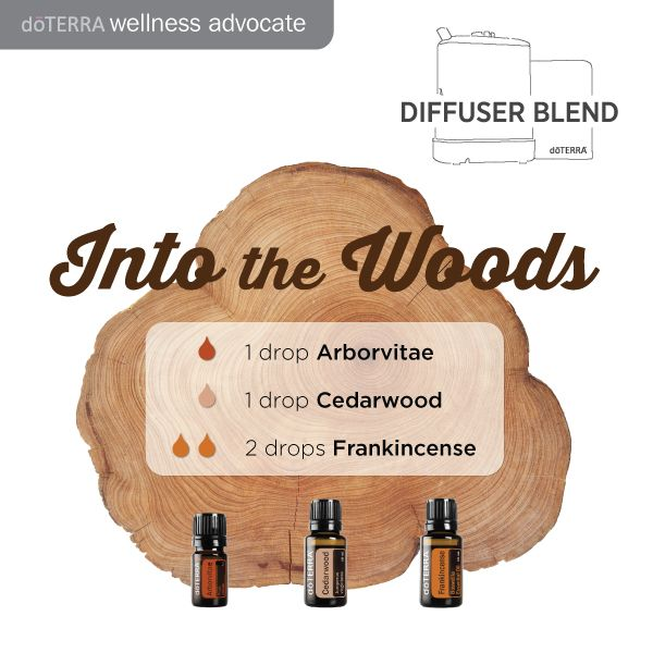 Into the woods! Essential oil diffuser blend. Sounds like a great mix, have you tried it? Arborvitae, Cedarwood & Frankincense. www.hayleyhobson,com