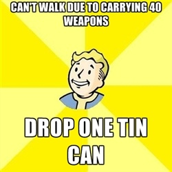 Fallout 3 - Can't walk due to carrying 40 weapons Drop one tin can
