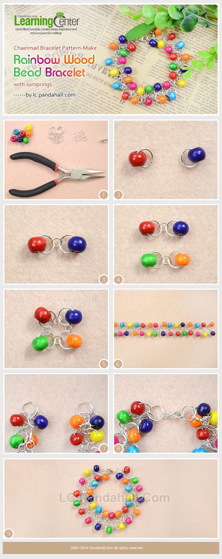Chainmail Bracelet Pattern-Make Rainbow Wood Bead Bracelet with Jumprings