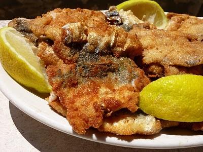 Butterflied fried sardines