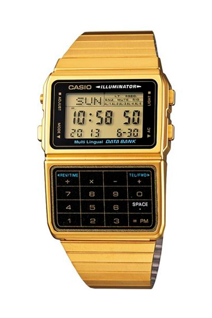Casio Gold Calculator Watch. Also available in silver.