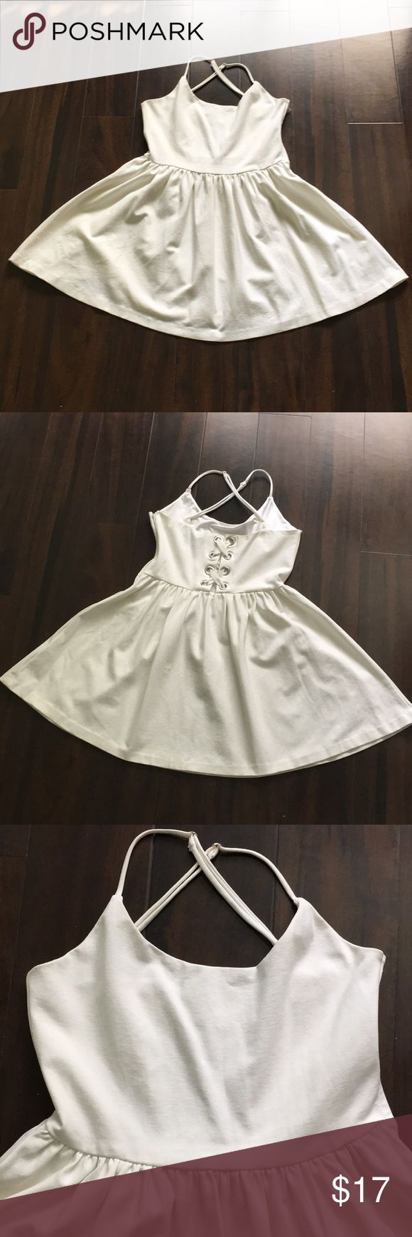 """Guess❓ Dress Women's guess dress. Great condition. Thick material for good coverage. 16"""" from waist to hem. Color is off white Guess Dresses Mini"""
