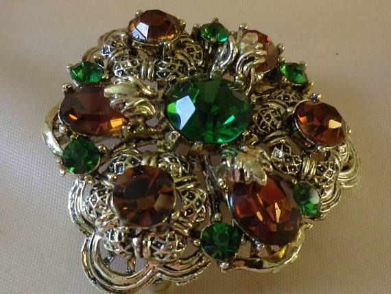 Vintage  Amber & Green Rhinestone Lisner Brooch