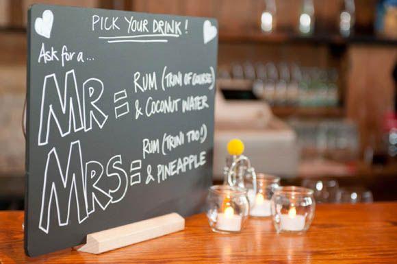 Chosen drinks.. order a Mr or a Mrs! Bride and groom's favorite cocktails!