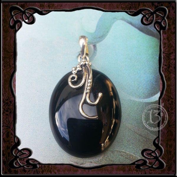 Sterling Silver Pendant with semi precious black stone