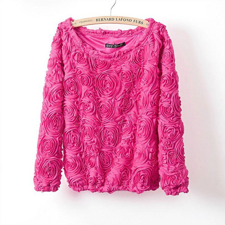 2017ホット販売ブランドプルオーバー女性3d花セーター三次元バラ手首スリーブプルオーバーセーター女性送料無料