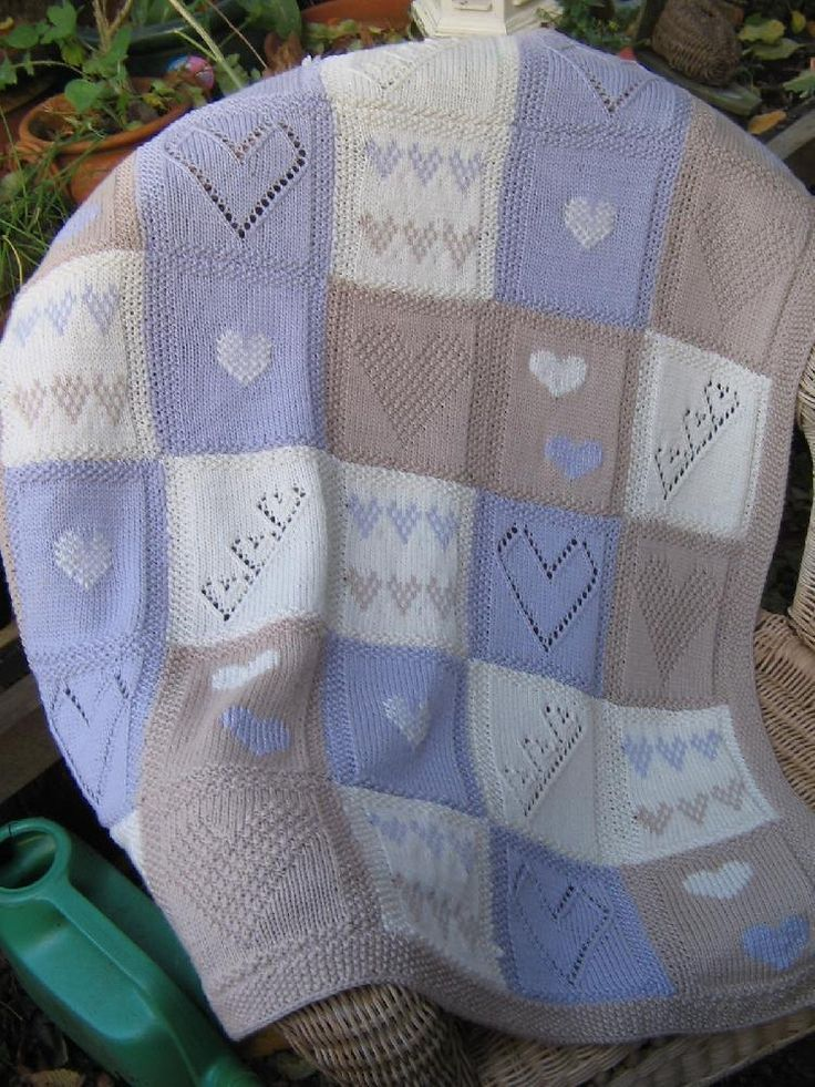 Originally designed for Lets Knit , this sampler baby blanket features several knitting techniques for you to try .. including eyelet lace, Fair isle, textured stitches and Swiss embroidery.