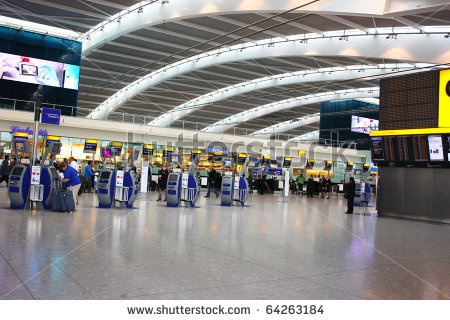 Inside Heathrow Airport Terminal 5  in London, England. London Heathrow Airport is the largest airport in the United Kingdom.