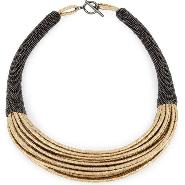 Brunello Cucinelli Multi-strand leather necklace ($795) ❤ liked on Polyvore featuring jewelry, necklaces, leather jewelry, beading jewelry, multiple chain necklace, beaded necklaces and bead jewellery