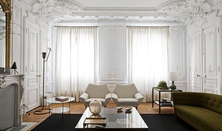 Home Inspiration Ideas - Paris luxury apartments Luis Laplace - white color room #modernchairs #livingroomideas #interiordesign  / More at http://homeinspirationideas.net/room-inspiration-ideas/home-inspiration-ideas-12-show-stopping-luxury-paris-apartments