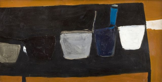 WILLIAM SCOTT (1913 - 1989) Still Life on Black Table, 1956 Oil on canvas Signed, titled and dated on stretcher verso 51 x 102.5 cm Provenance    Hanover Gallery, London