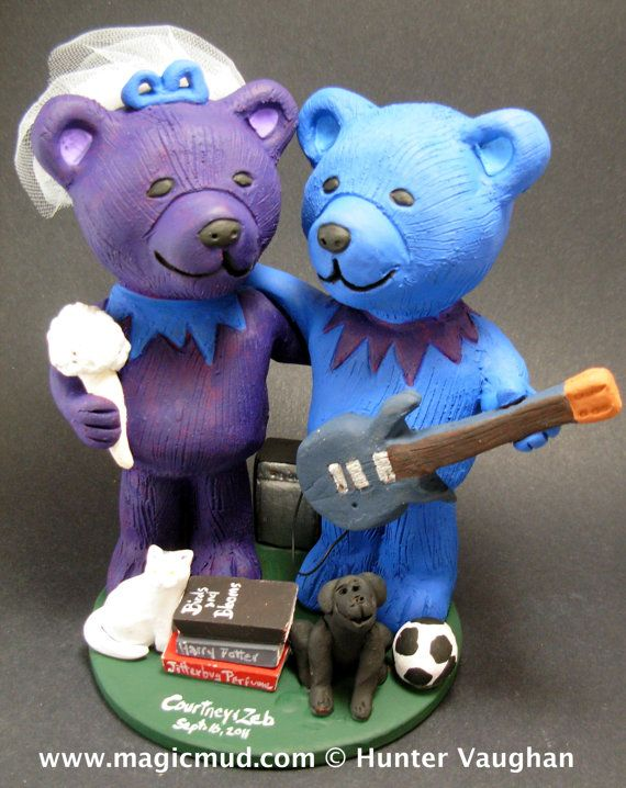 Guitar Playing Jerry Bear's Wedding Cake Topper, Custom Made Grateful Dead Dancing Bears Wedding Cake Topper, Jerry Bear Wedding Cake Topper    $235 #magicmud 1 800 231 9814 www.magicmud.com