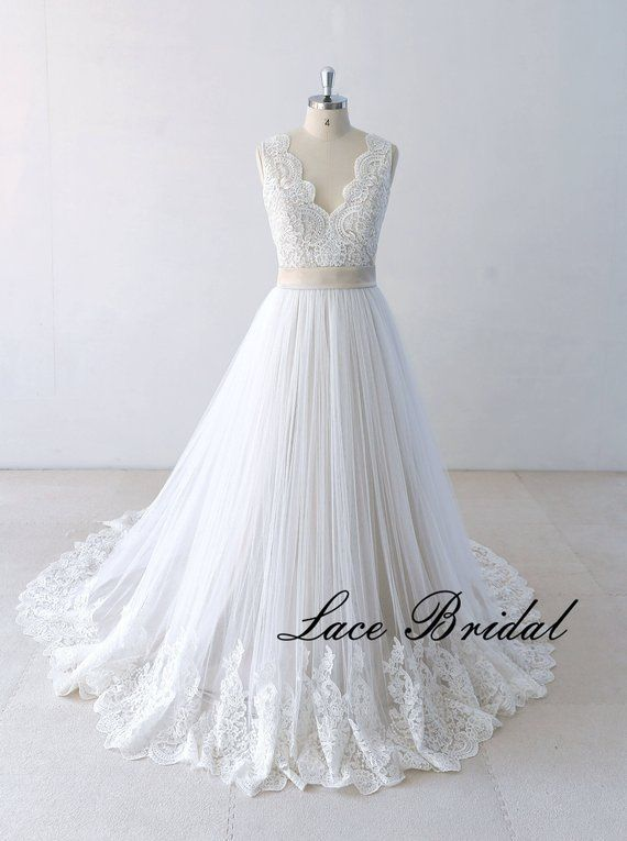 A Line Wedding Dress Beach Bridal Gown Lace Wedding Dress