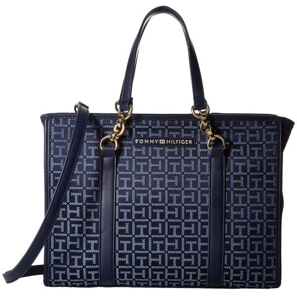 Tommy Hilfiger Emilia Convertible Shopper (Navy/Lapis) Handbags ($55) ❤ liked on Polyvore featuring bags, handbags, tote bags, navy, blue tote, handbag purse, tommy hilfiger handbags, handbags totes and shopper tote bag