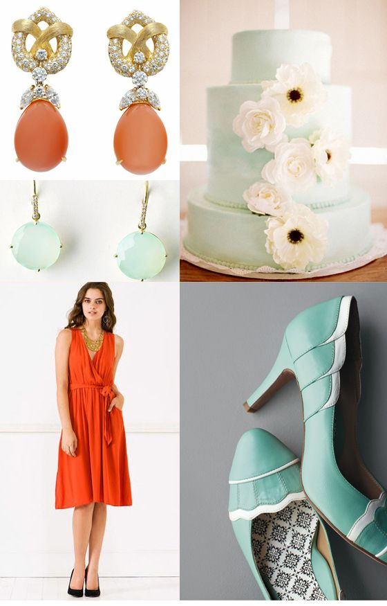 Tangerine Tango And Seafoam Green Wedding Inspiration 2 Pantone 2012 Color Of The Year