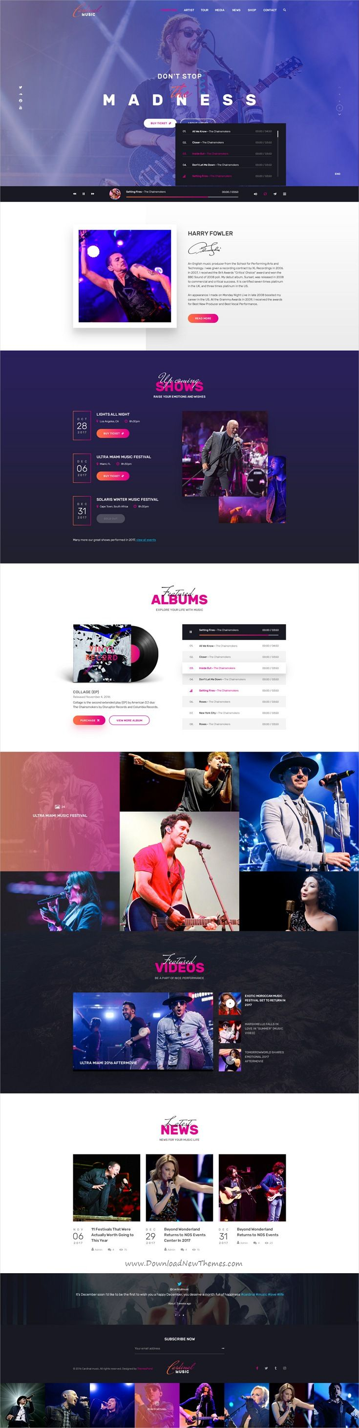Cardinal is clean and modern design PSD template for #artists, #music bands and #musicians website with 37 layered PSD pages download now..
