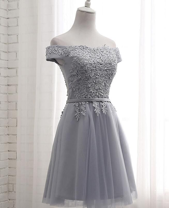 1487685dc74 Lovely Applique Grey Tulle Short Sleeves Party Dress