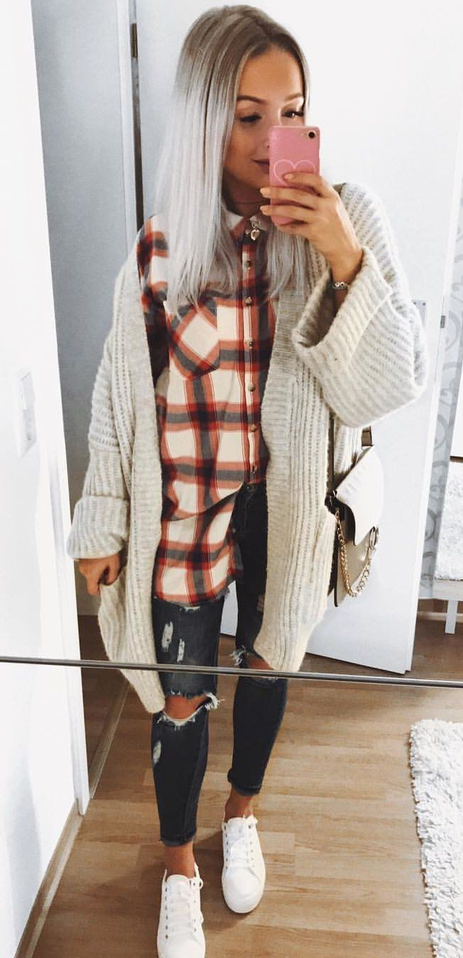 #fall #outfits women's orange and white button-up shirt with cardigan and black denim jeans with shoes