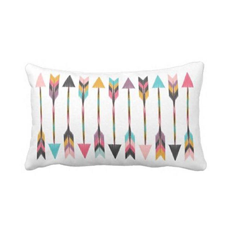 Bohemian Arrows Soft Throw Pillow Invisible Zippered Rectangle Pillow Case