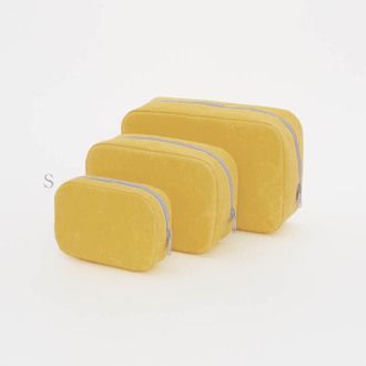 Square pouch (bi-colour: Yellow x Gray) - all made from Japanese WASHI paper - light yet strong - highly water-resistant and not easily torn.