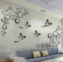 3D laagste prijs calssic zwarte vlinder bloem muursticker interieur poster flora vlinders tv muur mooie decoratie(China (Mainland))