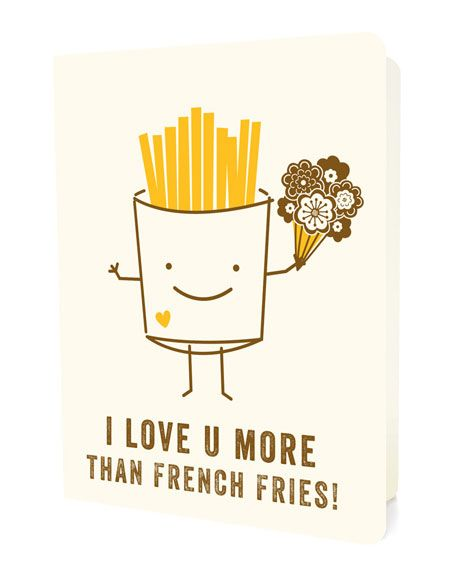 I Love U More Than French Fries Card - night Owl Paper Goods