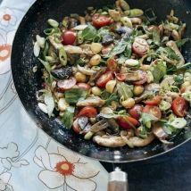Chicken, mushroom and macadamia stir-fry
