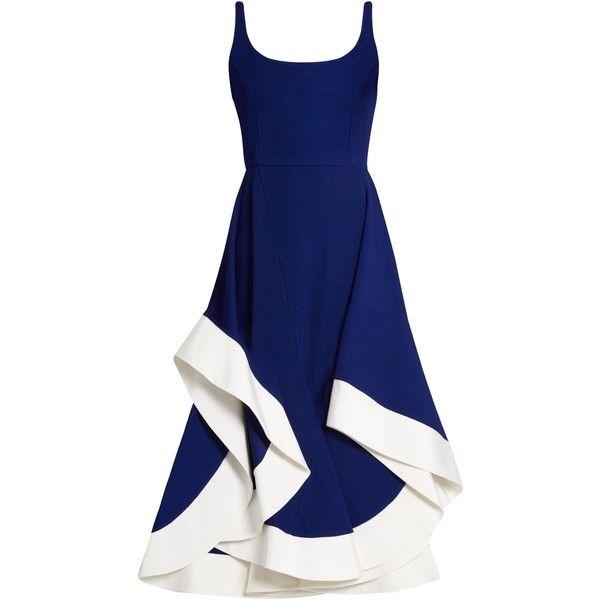 Esteban Cortazar Scoop-neck jersey midi dress ($1,477) ❤ liked on Polyvore featuring dresses, blue, esteban cortazar, blue jersey, electric blue dress, scoop neckline dress and asymmetric midi dress