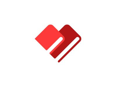 "Book Lovers: A #logo icon incorporating the letter ""B"", two books as well as a heart - designed by Ivan Bobrov, Russia"