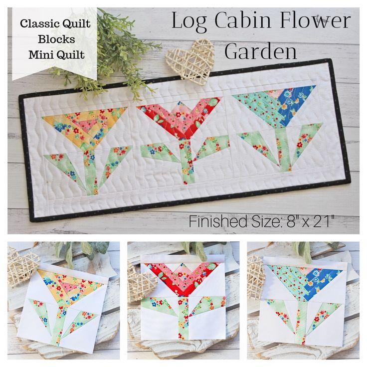 Log Cabin Flower Garden Mini Quilt – PDF Pattern