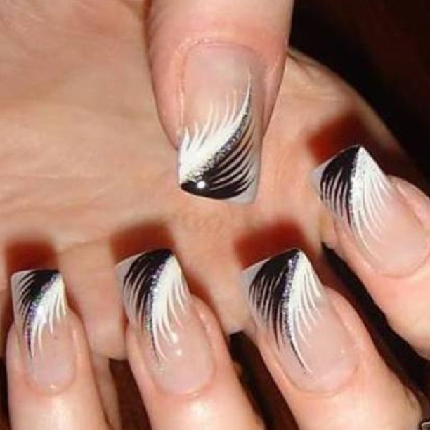 31 best gel nail designs images on pinterest gel nail designs black and white feather nail art design prinsesfo Choice Image