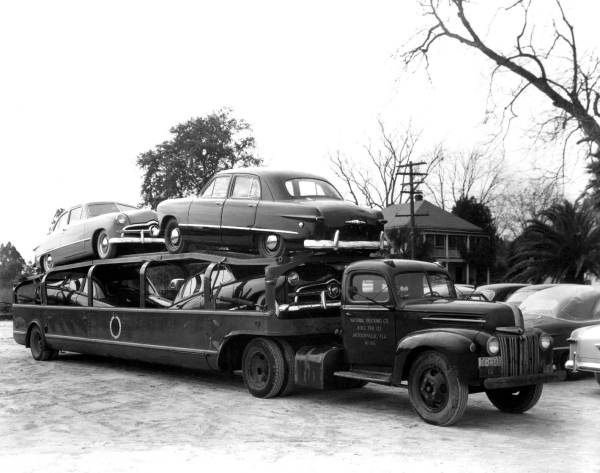 New Fords Being Transported To Dealerships Circa 1950