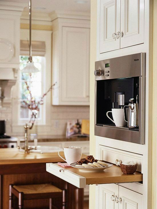 No Dedicated Space Available? Try this clever design with built-in espresso machine and a pull out shelf.