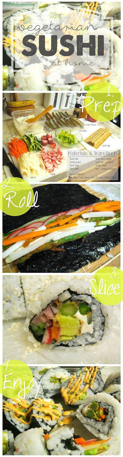 Easy DIY vegetarian sushi    ♡ Make it at Home | Vegetarian Sushi ♡