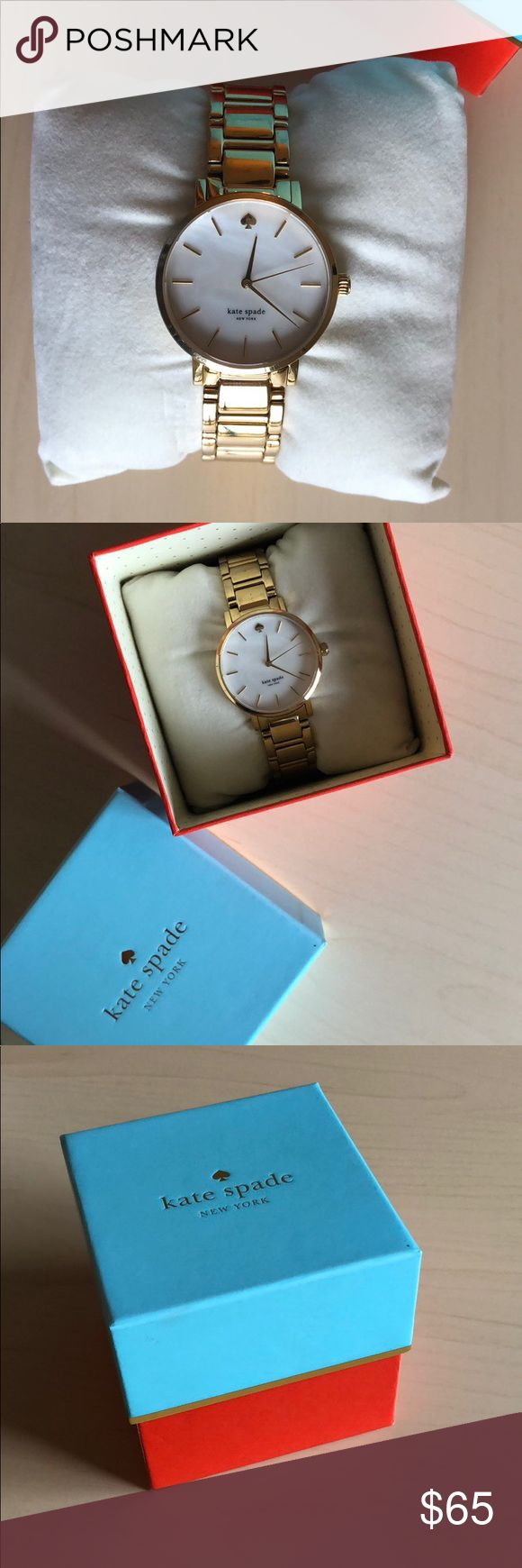 Kate Spade Gold Watch Kate Spade gold watch. Shows wear on the strap but not noticeable when wearing. It's about 4 years old. Included is: watch, cushion, instructions, links that were taken out, travel pouch, and box. kate spade Accessories Watches