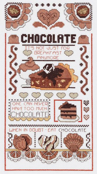 Chocolate Sampler Counted Cross Stitch Kit. Cute kitchen decor item! Only $16.99