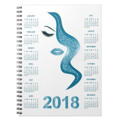 Women with glittery makeup 2018 calendar notebook - lip gifts unique lips style cyo personalize