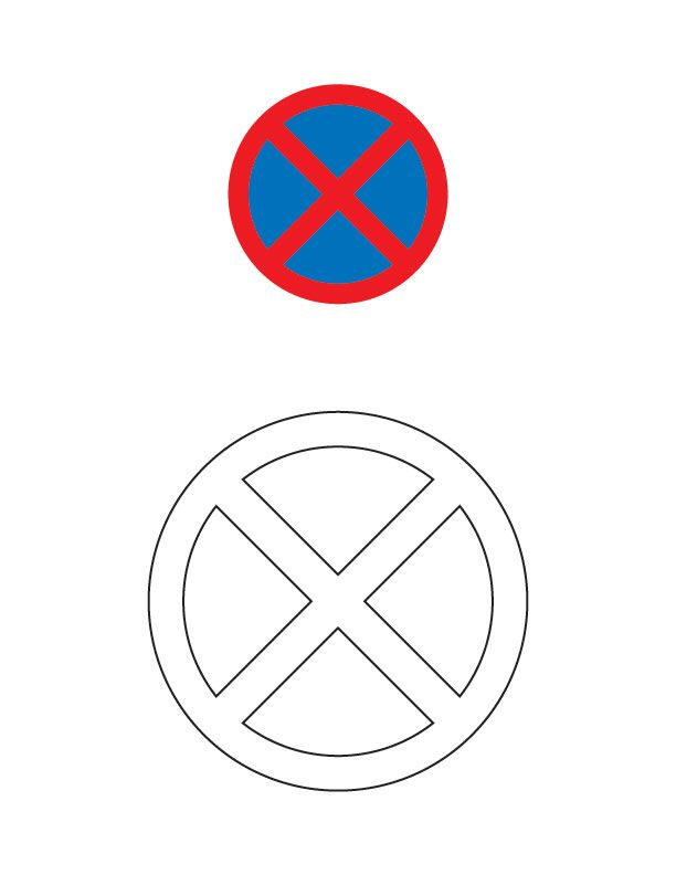 No stopping traffic sign coloring page