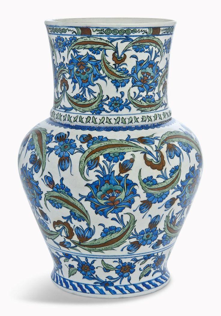 8 things to know about İznik pottery via Christie's. Iznik-style pottery vase. Samson, France, circa 1878.